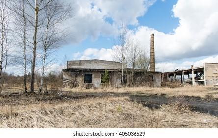 Abandoned ruins of military settlement. City of Skrunda in Latvia