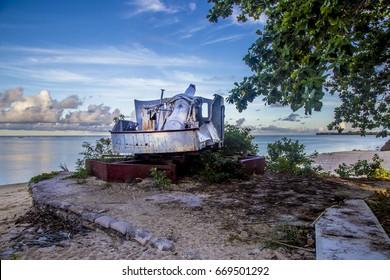 Abandoned ruins of a tank fro World War 2 at Tarawa, Kiribati.