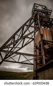 Abandoned rusted mining control tower