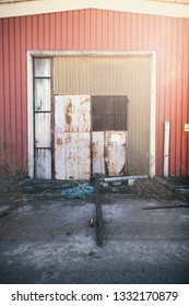 abandoned and rusty factory door warehouse