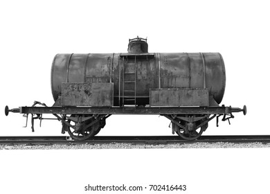 Abandoned rusty railway containers. Old cargo wagon isolated on white background