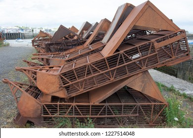 Abandoned  rusty trawl in Granville harbor, France