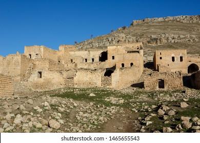 Abandoned sand stone houses of an ancient Assyrian village called Kellith or Kıllıt in Savur, Mardin.