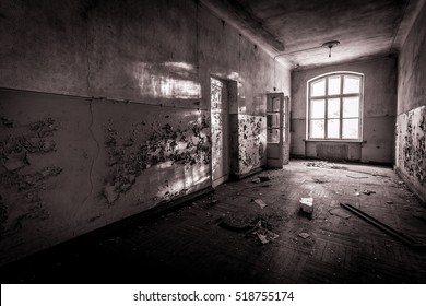 Abandoned school. Abandoned aviation school of Soviet times. Ex Soviet legacy. Exclusive design for horror and rage rooms. Low light caption for sense of abandonment and fear. Loneliness. Riga.