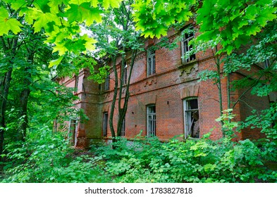 Abandoned school building in resettled village of Babchin in exclusion zone of Chernobyl nuclear power plant, Khoiniki district, Belarus