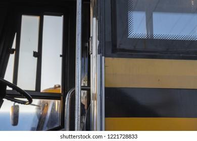 abandoned school bus in a junkyard