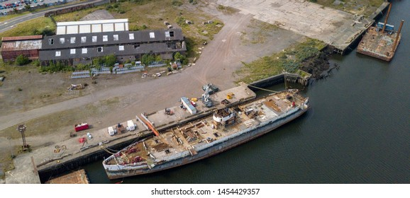 Abandoned ship in the dock at Middlesbrough waiting to be scrapped