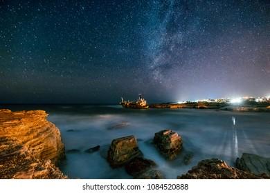 Abandoned ship Edro III near Cyprus beach.