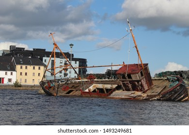 An abandoned ship on the Claddagh in Galway City.