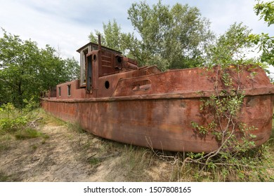 Abandoned shipwreck in the Chernobyl exclusion zone in Belarus, White-Russia