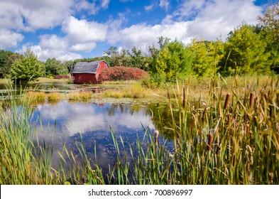 An abandoned sinking barn sinks into a lake, near Zimmerman, Minnesota