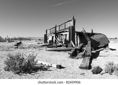 Abandoned and sinking trailer at Bombay Beach at the Salton Sea.