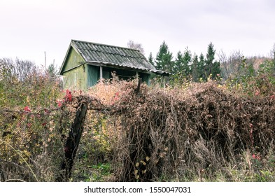 Abandoned small house falling apart from old age