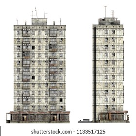 Abandoned Soviet 12-storey panel house. Set of 3d-renders