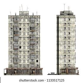 Abandoned Soviet 12-storey panel house. Set of 3d-renders