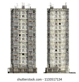 Abandoned Soviet 16-storey panel house. Set of 3d-renders