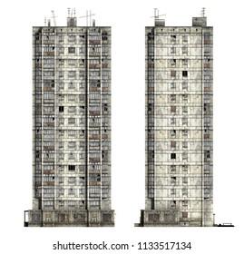 Abandoned Soviet 16-storey panel house. Set of 3d-renders