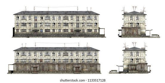 Abandoned Soviet 3-storey panel house. Set of 3d-renders