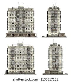 Abandoned Soviet 9-storey panel house. Set of 3d-renders