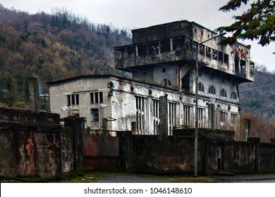 Abandoned Soviet-built factory in mountains. Economic crisis, industrial collapse. Abkhazia, sluggishness of economy, comatose economy