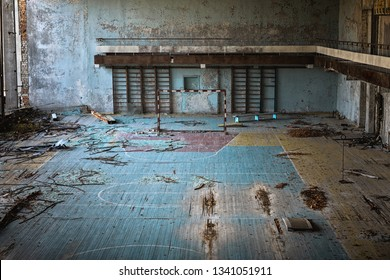 Abandoned sport room in Pripyat city, Chernobyl Exlusion Zone 2019 angle shot