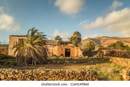 Abandoned stone house surrounded by palms and hills in Fuerteventura, Canary Islands, Spain.