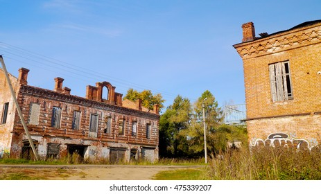 Abandoned street with red brick buildings in Russian town of Myshkin on Volga river