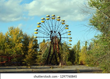 The abandoned streets and buildings in the town of Pripyat in the Chernobyl Exclusion Zone, Ukraine