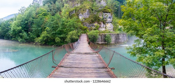 Abandoned suspension bridge at Slovenia and Croatia border