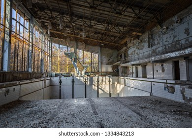 The Abandoned swimming pool in Pripyat, Chernobyl exclusion Zone 2019