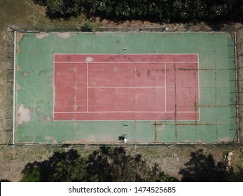Abandoned tennis court in a village