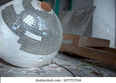 Abandoned Textile Factory Broken Disco Ball Light, Party Is Over