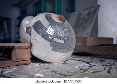 Abandoned Textile Factory Broken Disco Ball Light