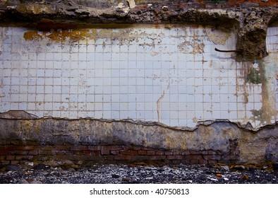 abandoned tile wall