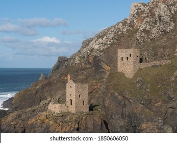 Abandoned Tin mine engine houses at Botallack on cliff edge.Used in filming of Poldark.World Heritage Site.Tin Mine Coast.