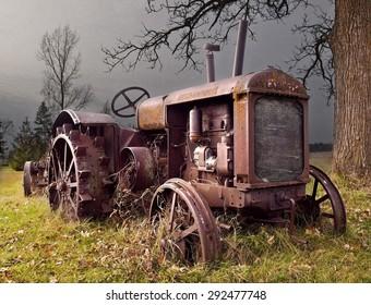 Abandoned Tractor, metal wheels