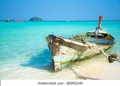 Abandoned traditional fishing boat in Thailand