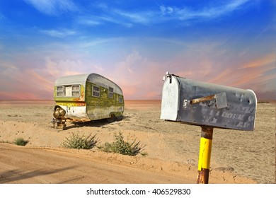Abandoned Trailer in Desert Scene