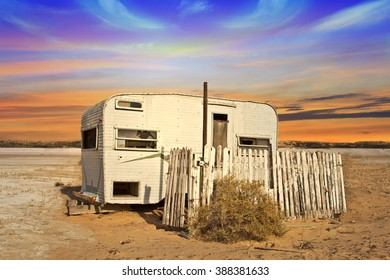 Abandoned Trailer home in Desert Sand