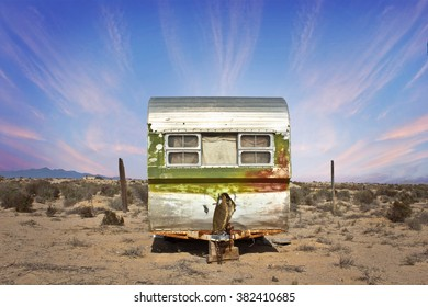 Abandoned Trailer in Western Desert