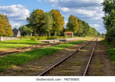 Abandoned train station and  old railway track in the village.