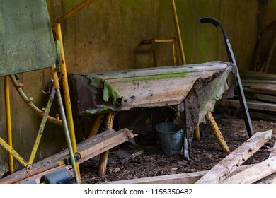 Abandoned trainig equipment. Murjanim, Latvia