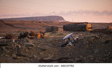 Abandoned trains in Norilsk. Russia.