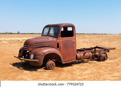 Abandoned truck in arid landscape in Queensland, Australia