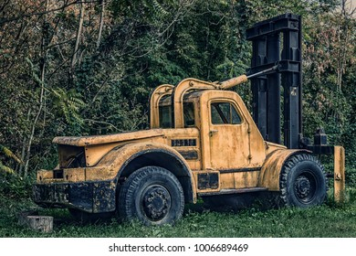 Abandoned truck in the forest spooky