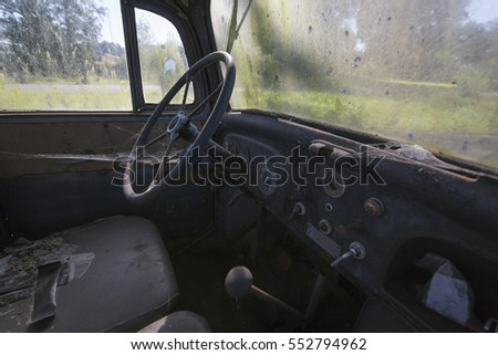 Abandoned truck interior with
