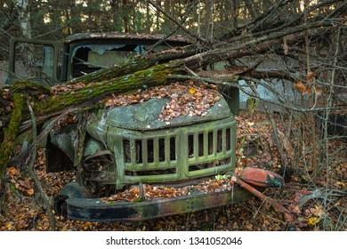 Abandoned truck left outside closeup photo