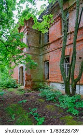 Abandoned two-story brick school building in resettled village of Babchin in exclusion zone of Chernobyl nuclear power plant, Khoiniki district, Belarus