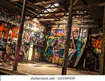 abandoned underground colorful graffiti