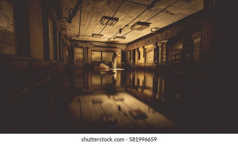 Abandoned underground ex Soviet cold war bomb shelter. Ghostly figure walking through. Atmosphere of fear. Exclusive quest and rage room design.